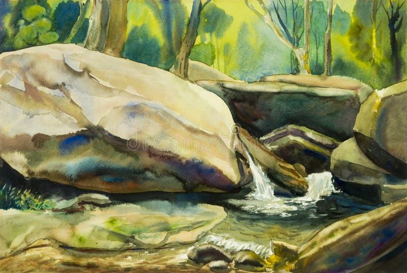 水彩风景原始的绘画五颜六色瀑布 皇族释放例证