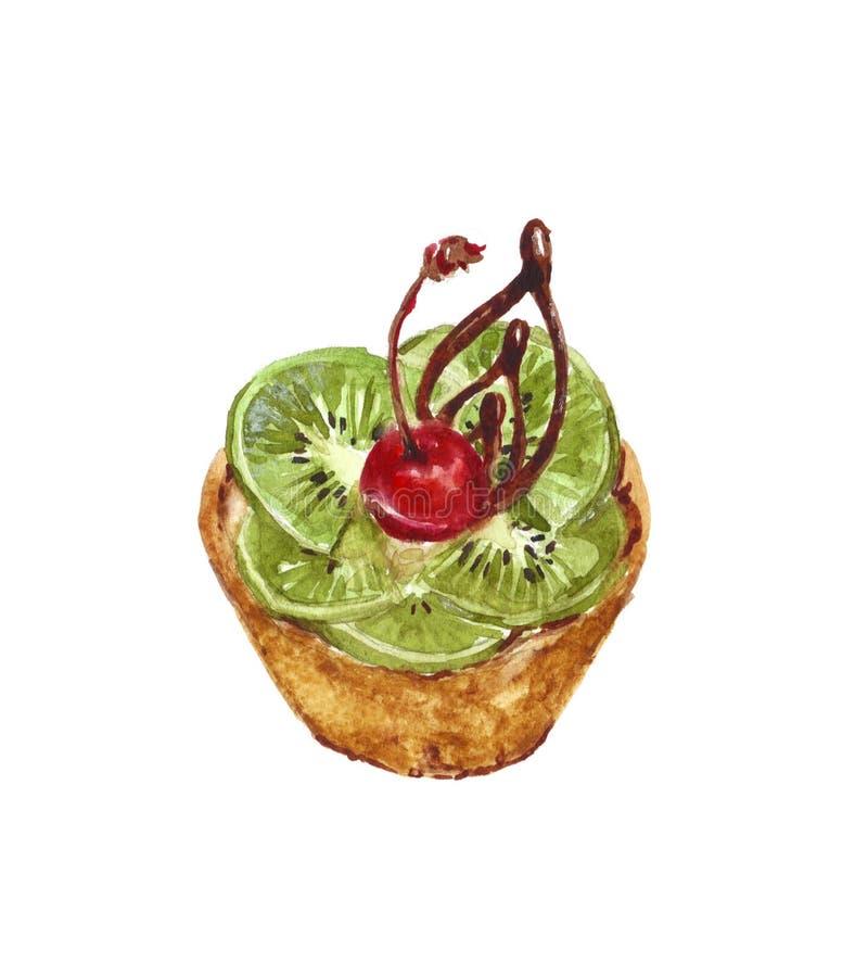 水彩馅饼用樱桃和猕猴桃在白色背景 库存例证