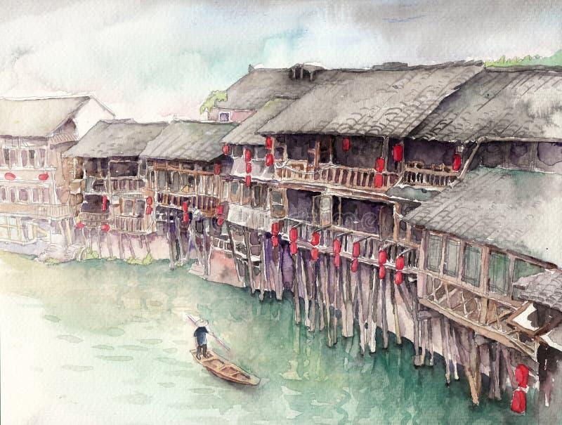 水彩高定义例证:中国水镇 高跷顶楼 重庆 库存例证