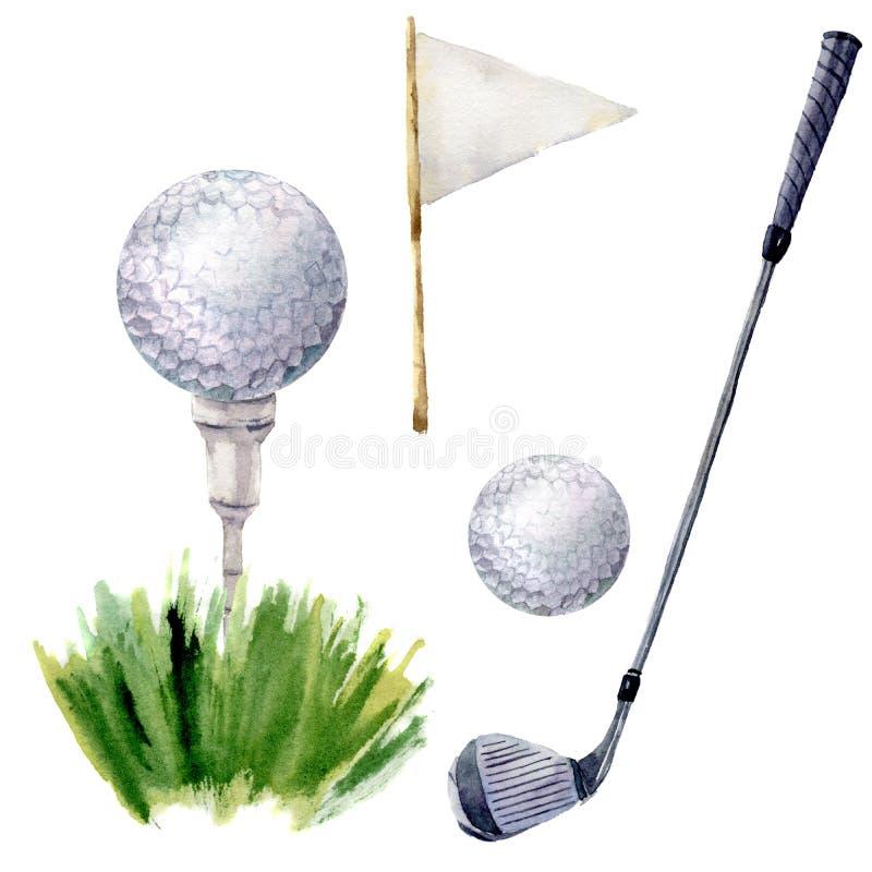 水彩高尔夫球元素集 打高尔夫球与发球区域、高尔夫俱乐部、在白色背景和草的例证隔绝的高尔夫球、flagstick 向量例证