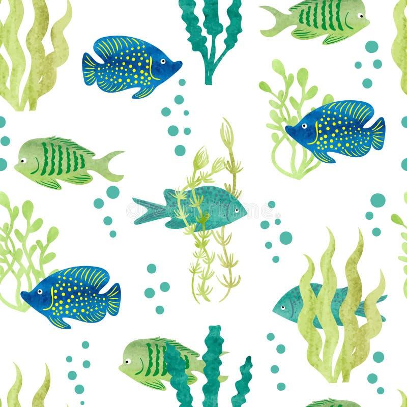 水彩鱼无缝的样式 库存例证