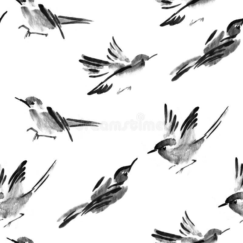 水彩鸟无缝的样式可以为墙纸,网站背景,织物印刷使用 向量例证