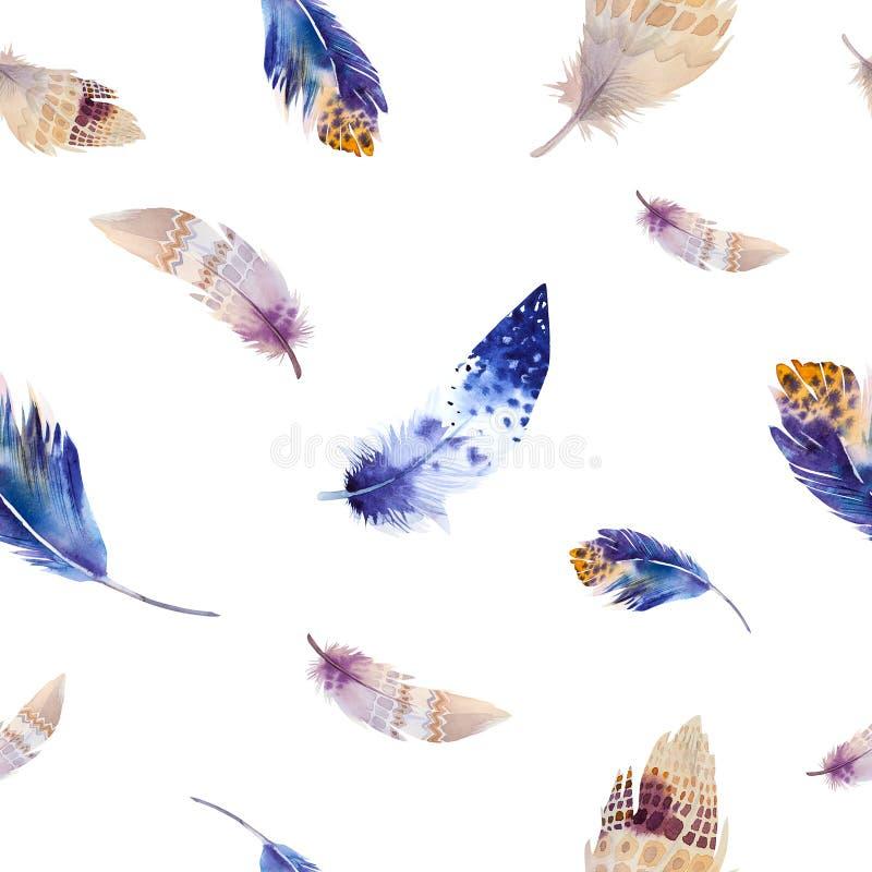 水彩鸟羽毛样式 无缝 向量例证