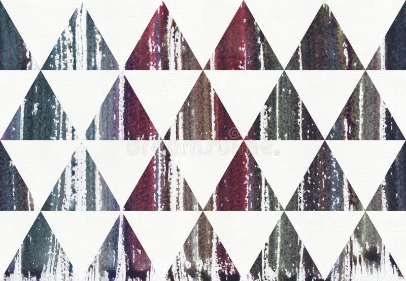 水彩绘了在三角,光栅例证的镶边紫色,蓝色和深蓝泼溅物颜色 库存例证