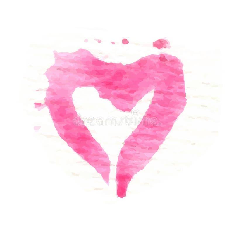 水彩绘了桃红色心脏,传染媒介元素为 皇族释放例证