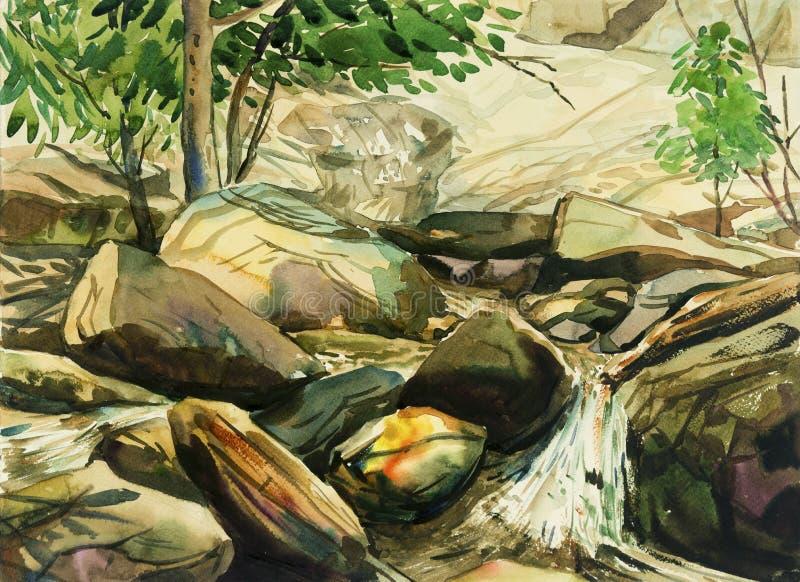 水彩绘五颜六色瀑布,岩石峭壁,在森林里 向量例证