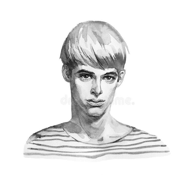 水彩年轻人时尚画象镶边衬衣的 在白色背景的手拉的blondie男孩面孔 向量例证