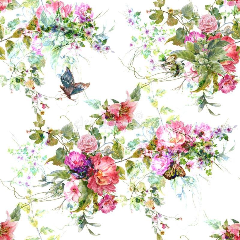 水彩绘画叶子和花,在白色backgroun的无缝的样式 库存例证