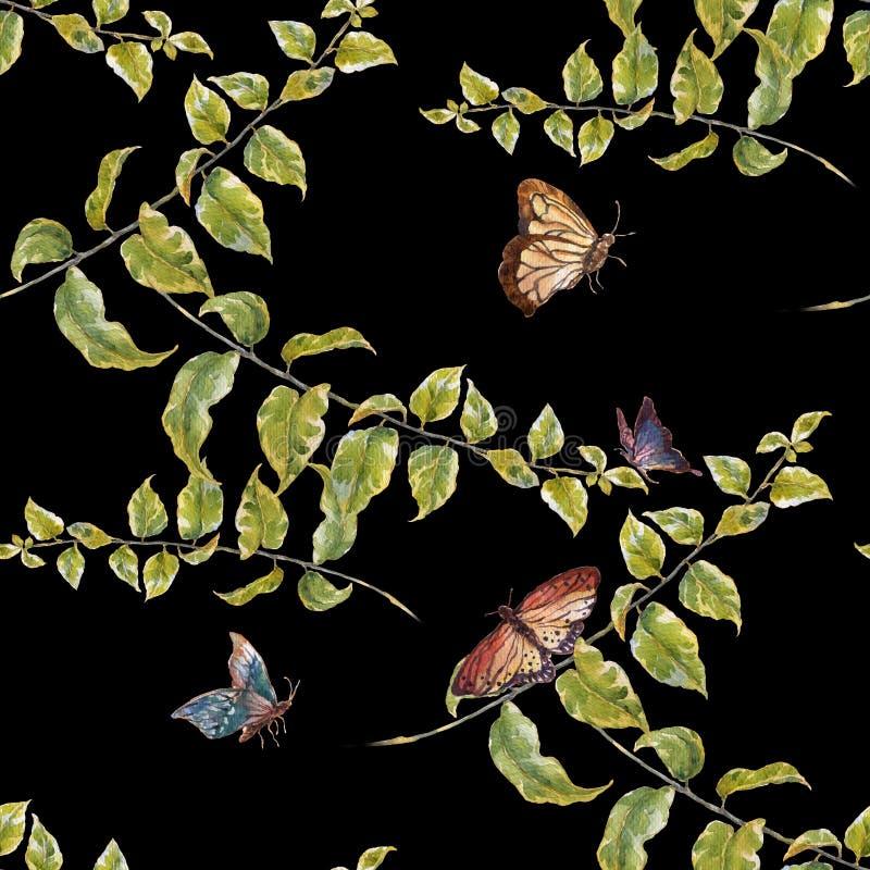 水彩绘画叶子,蝴蝶,在黑暗的背景的无缝的样式 库存例证