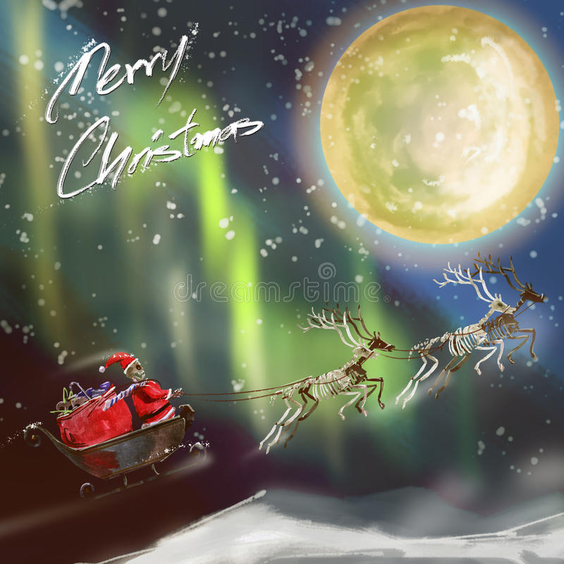 水彩绘画和数字式被绘的圣诞卡,圣诞老人肋前缘 皇族释放例证