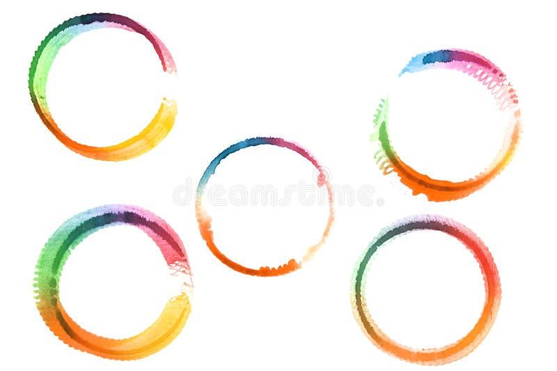 水彩画在白色背景隔绝的设计元素 库存图片