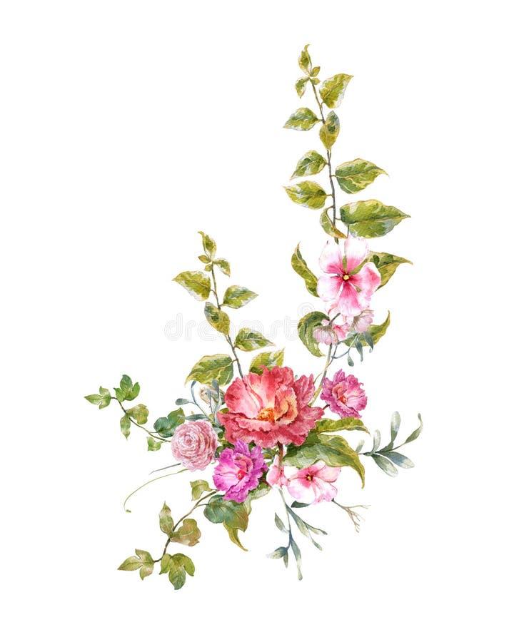 水彩绘画在白色背景离开和花, 库存例证