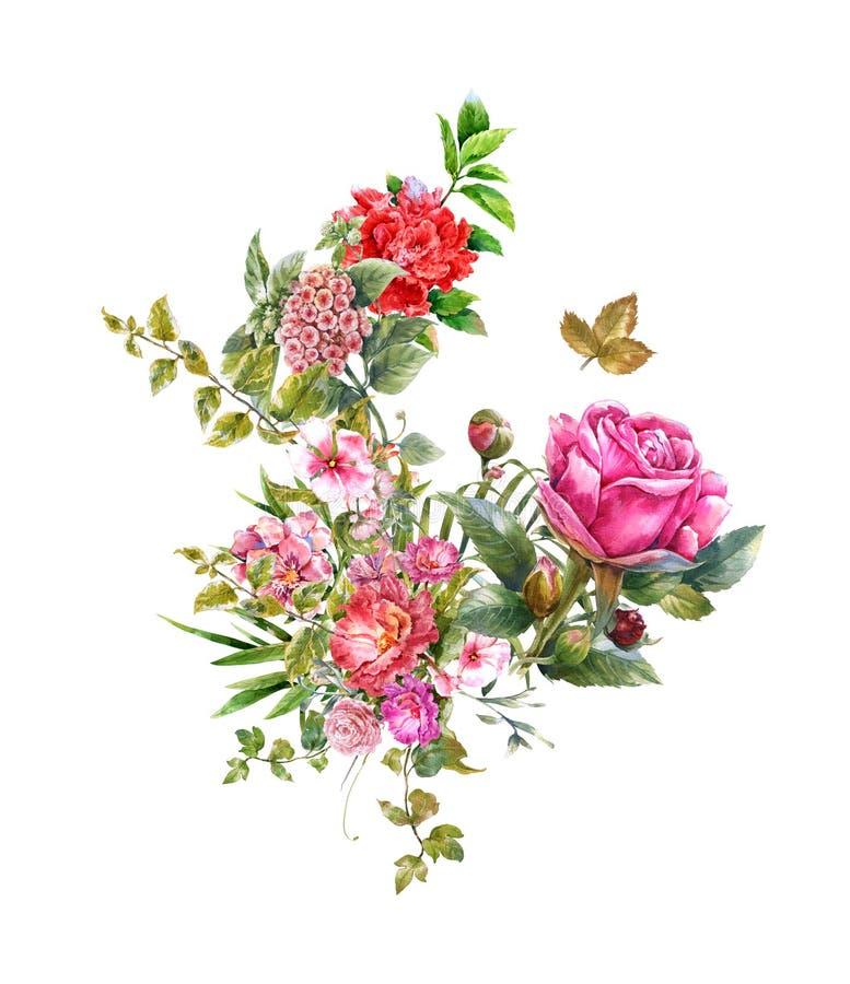 水彩绘画在白色背景离开和花, 皇族释放例证