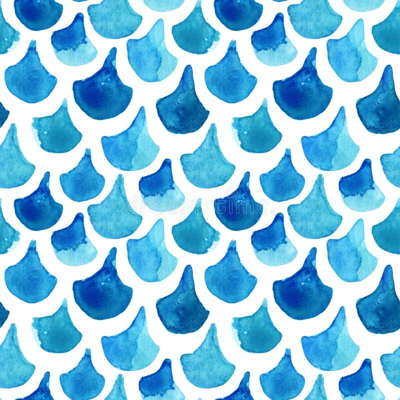 水彩织地不很细鱼鳞无缝的样式 向量例证