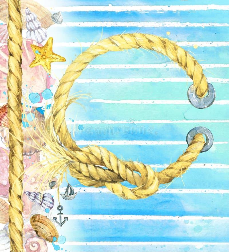 海鸟和锚_水彩贝壳 在水彩蓝色背景的贝壳 库存例证. 插画 包括有 装饰 ...