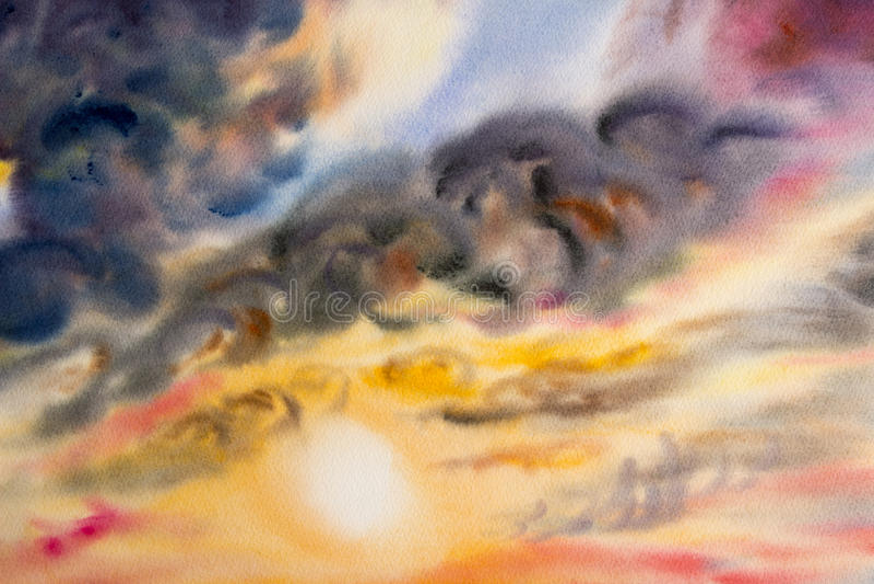 水彩绘画天空五颜六色在空气的雨云 皇族释放例证