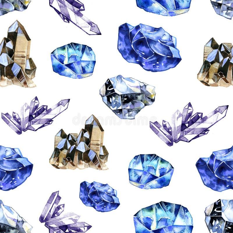 水彩水晶宝石 在白色背景的手拉的无缝的样式 库存例证