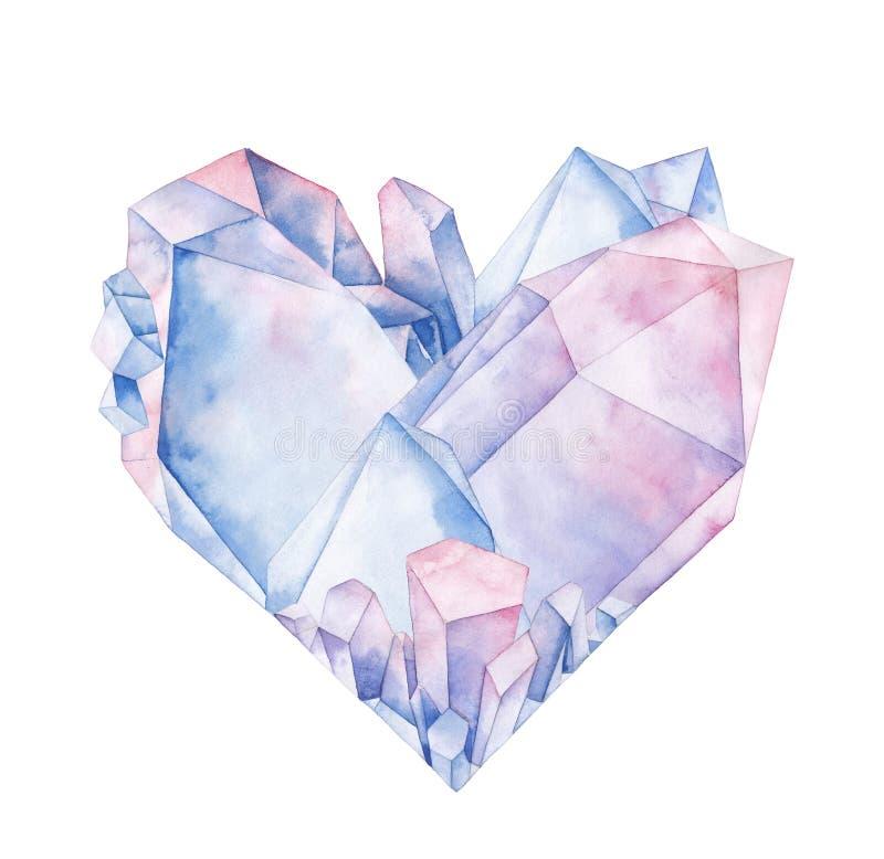 水彩水晶心脏 向量例证