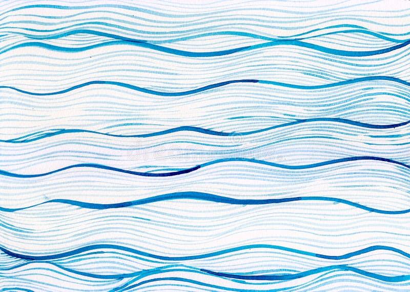 水彩绘画海蓝色海在白色帆布纸的波浪背景 库存照片