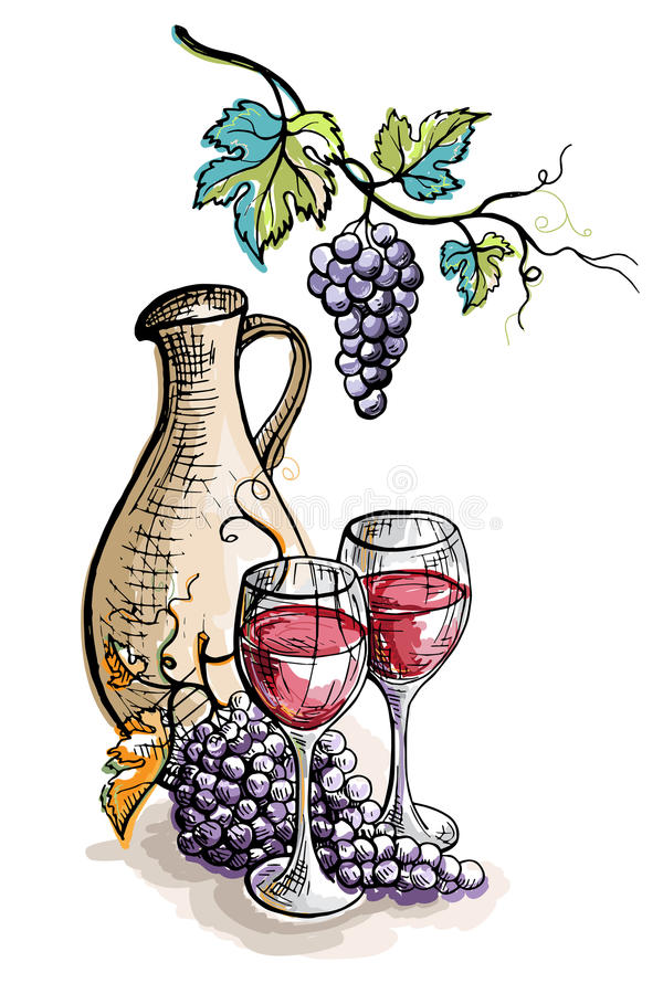 水彩水罐和杯在白色隔绝的葡萄酒 皇族释放例证