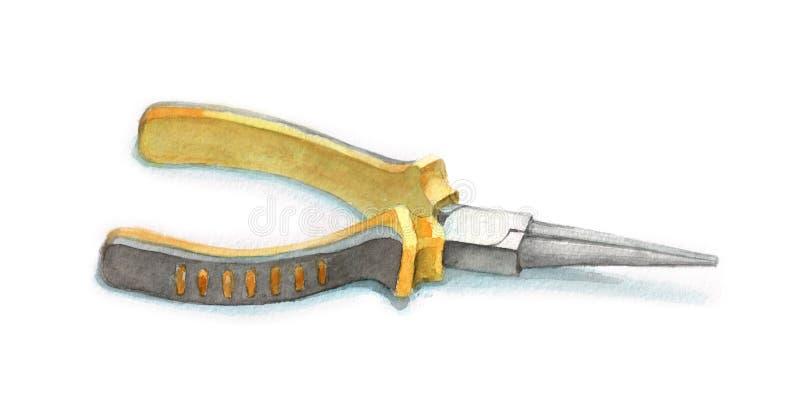 水彩黄色圆的钳子 库存例证
