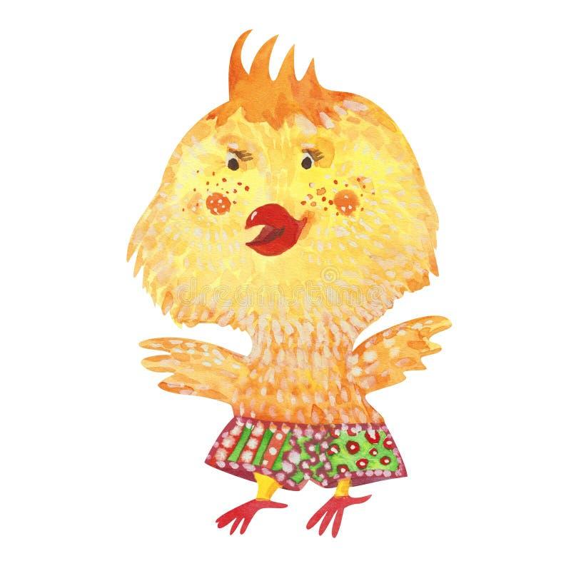水彩黄色小鸡 库存例证
