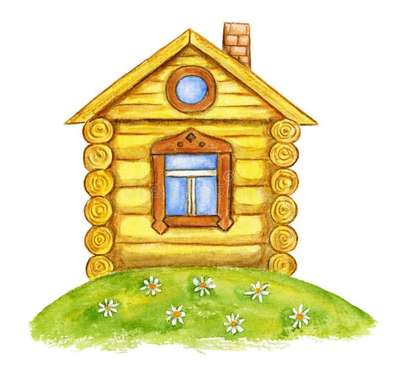 水彩黄色房子 向量例证