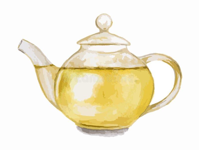 水彩绿茶罐 皇族释放例证