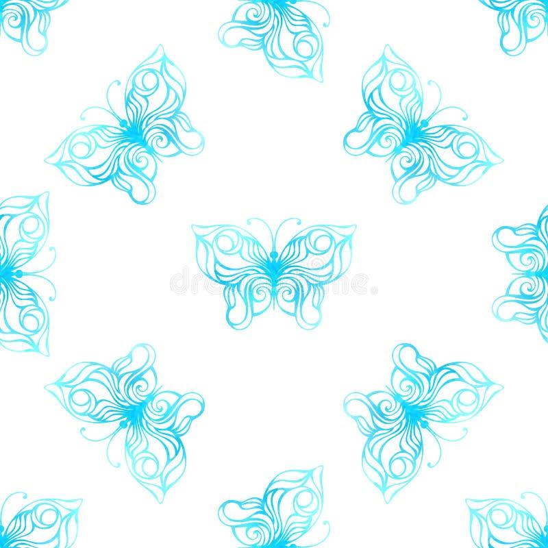 水彩蝴蝶的传染媒介无缝的样式 库存例证