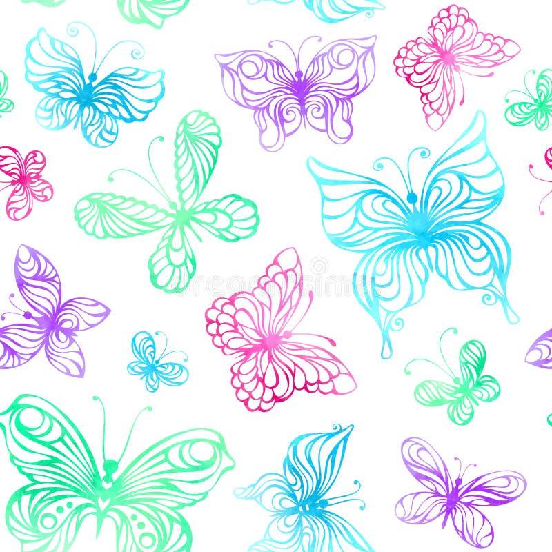 水彩蝴蝶的无缝的样式 向量例证
