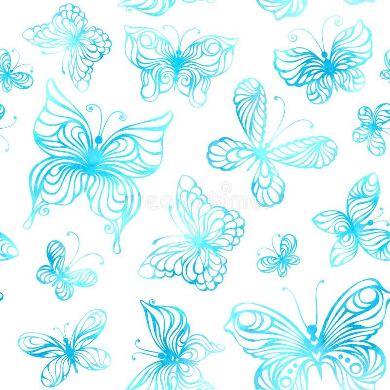 水彩蝴蝶的无缝的样式 库存例证