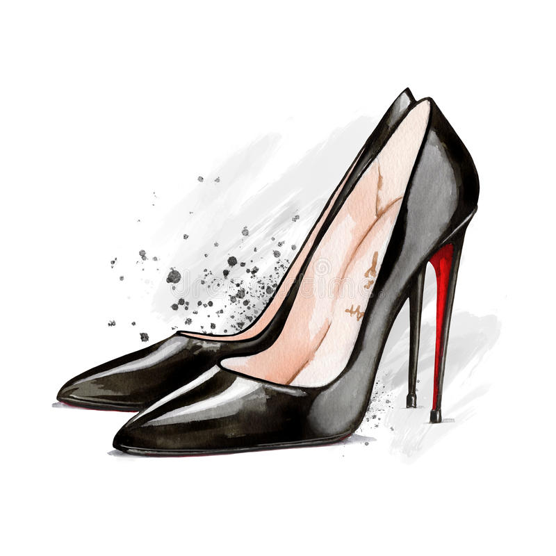 水彩黑高跟鞋鞋子 库存例证