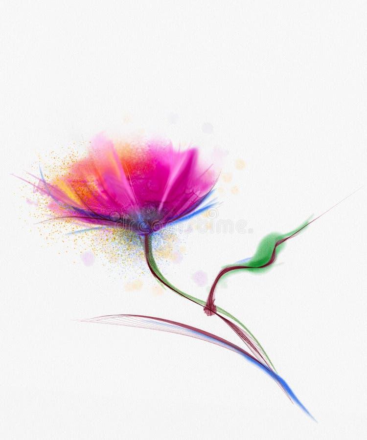 水彩绘画鸦片花 在白皮书背景的花 库存例证