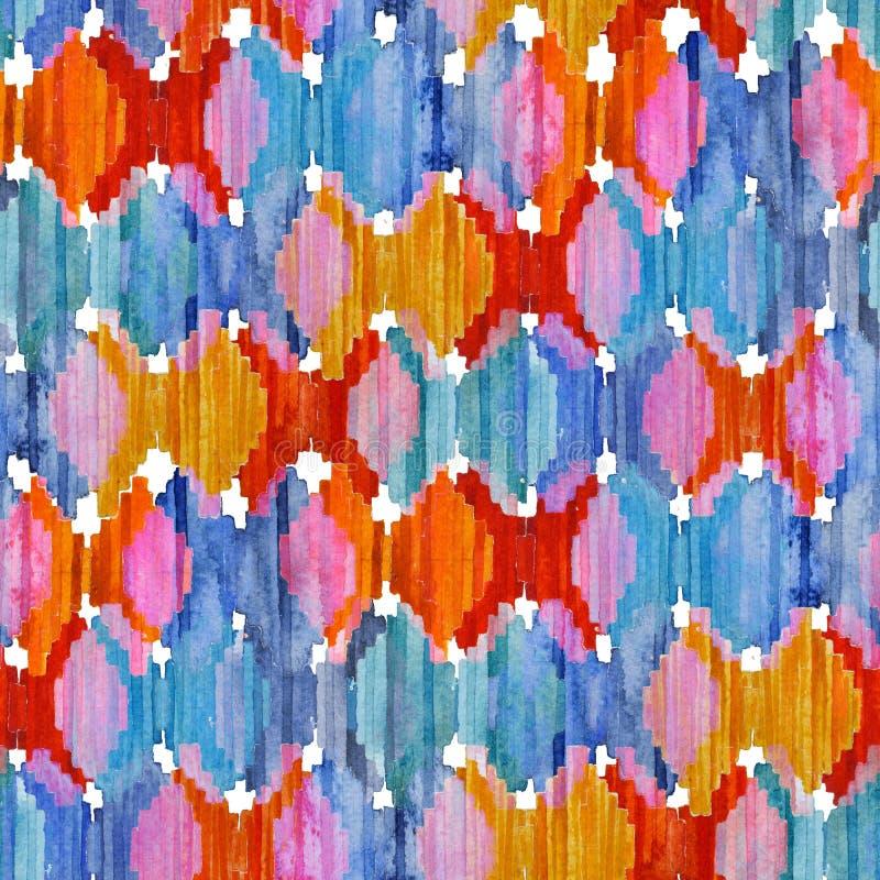 水彩ikat无缝的样式 充满活力的种族菱形样式 图库摄影