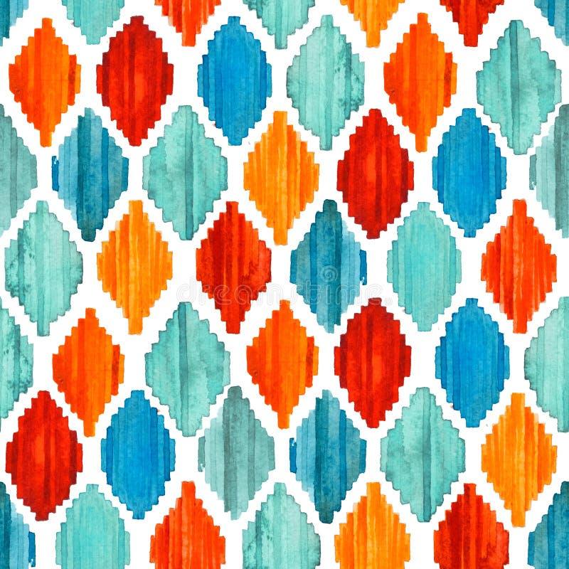 水彩ikat无缝的样式 充满活力的种族菱形 免版税库存图片