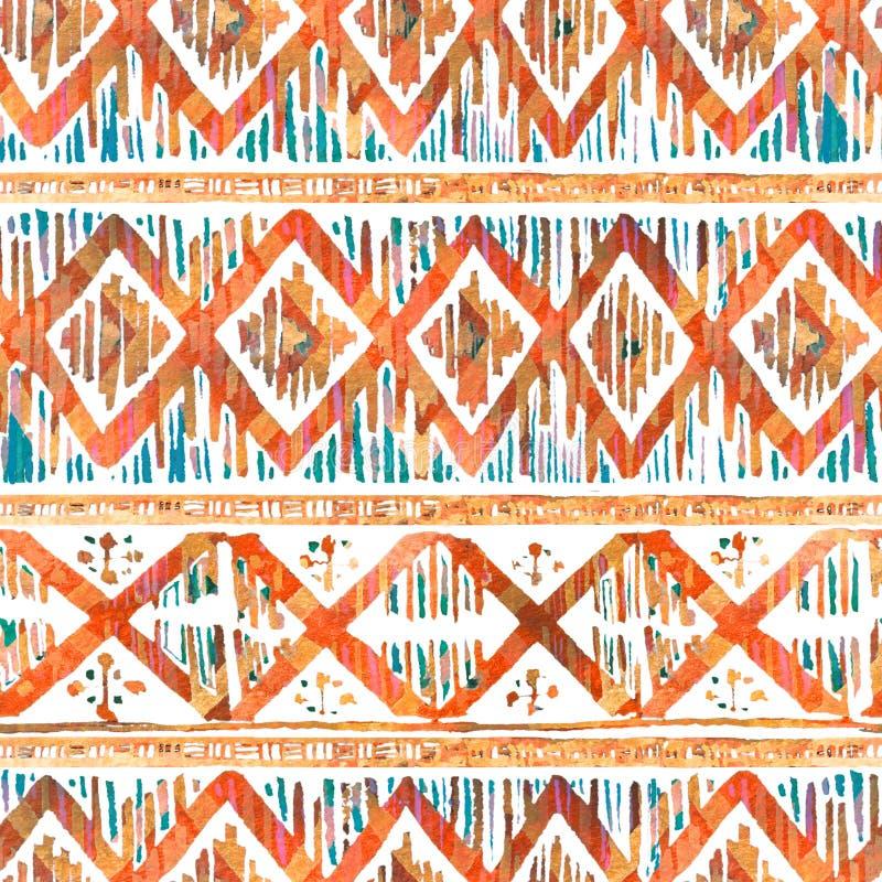 水彩ikat无缝的样式 在水彩样式的充满活力的种族菱形 免版税图库摄影