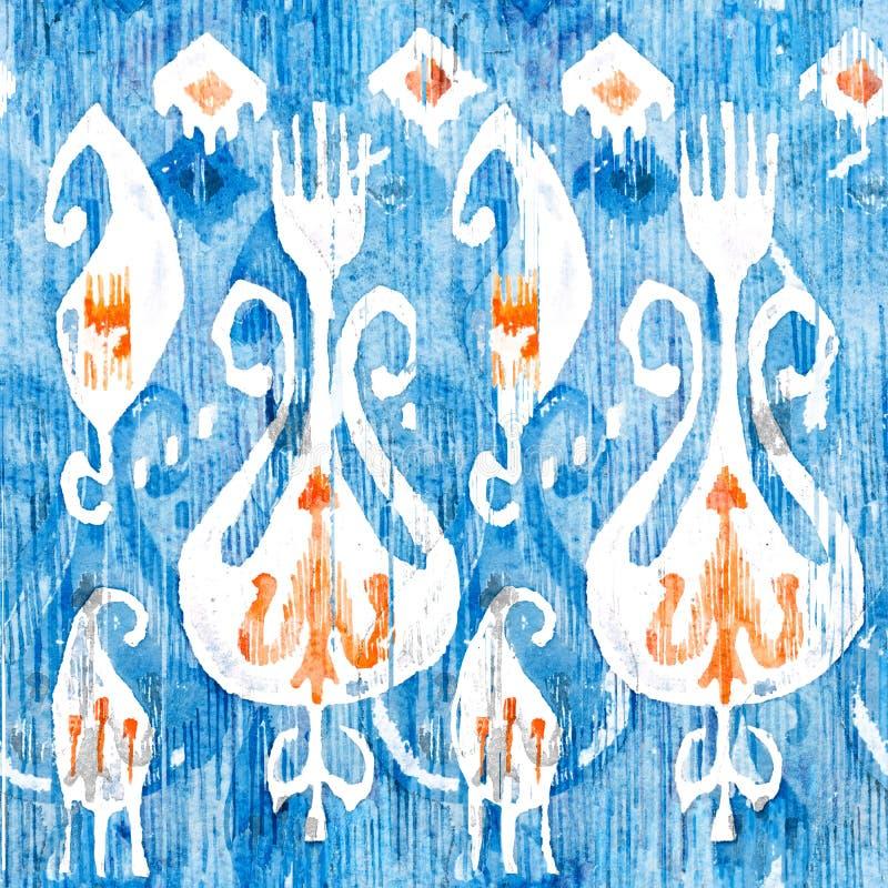 水彩ikat无缝的样式 装饰花卉在水彩样式 漂泊种族 库存例证