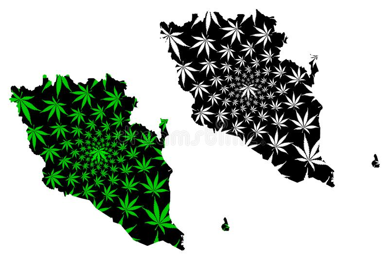 彭亨状态和马来西亚,马来西亚地图的联盟的联邦疆土是被设计的大麻叶子绿色和黑色,彭亨 库存例证