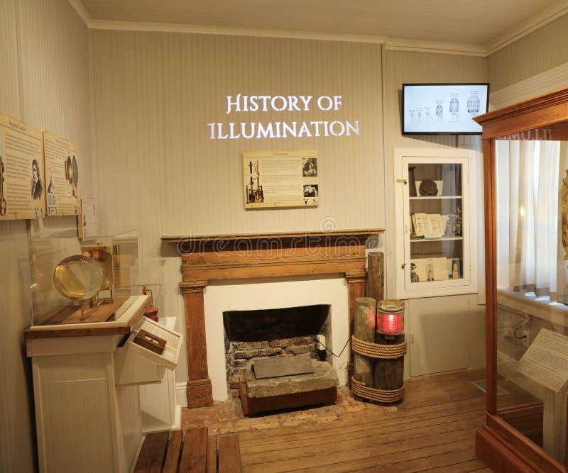 彭萨科拉灯塔,照明的历史 免版税图库摄影