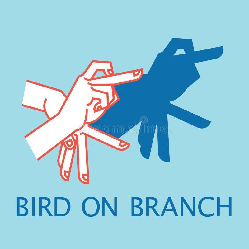 阴影剧院 手势喜欢在分支的鸟 阴影布袋木偶的传染媒介例证 库存例证