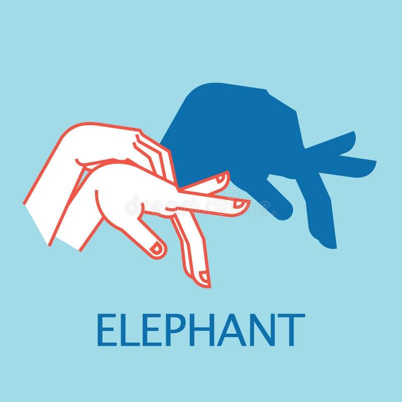 阴影剧院 手势喜欢大象 阴影布袋木偶的传染媒介例证 库存例证