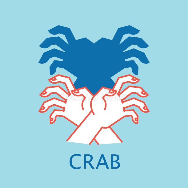 阴影剧院 手势喜欢螃蟹 阴影布袋木偶的传染媒介例证 向量例证