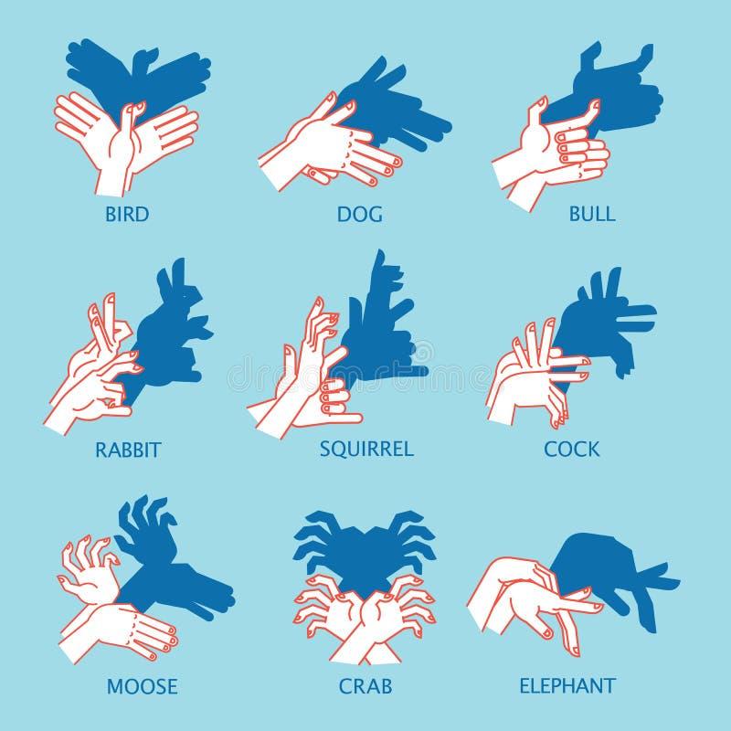 阴影剧院 手势喜欢飞鸟 阴影布袋木偶的传染媒介例证 向量例证