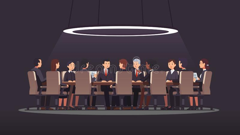 影子政府会议在大圆桌上举行 皇族释放例证