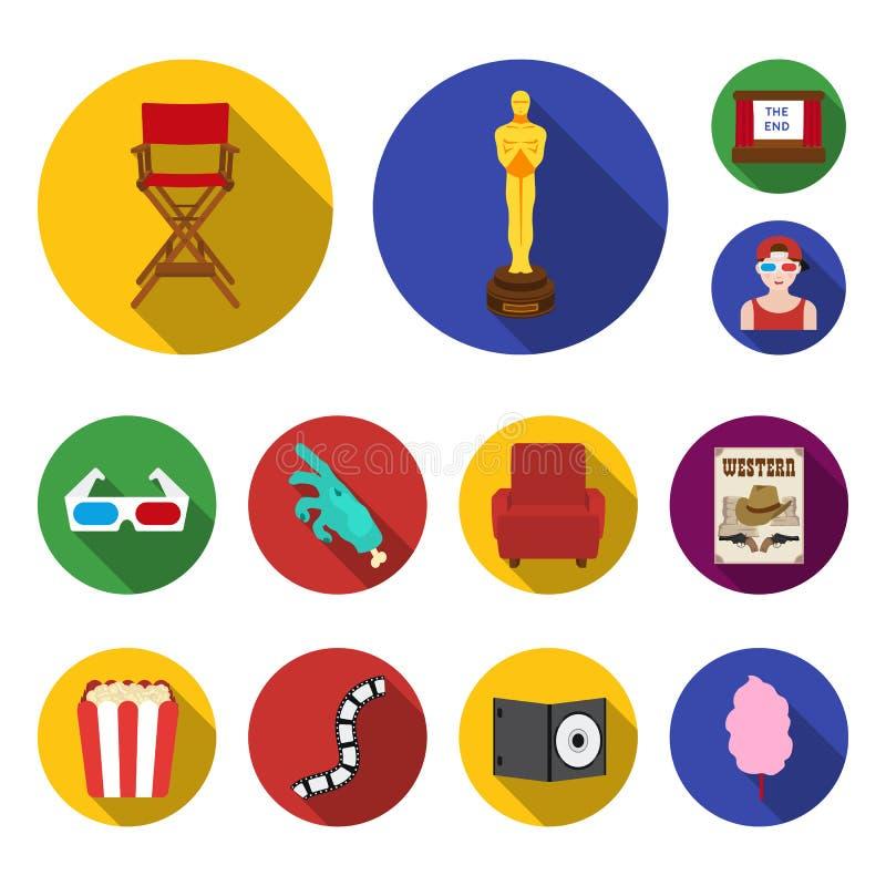 影片和戏院平的象在集合汇集的设计 电影和属性导航标志储蓄网例证 库存例证