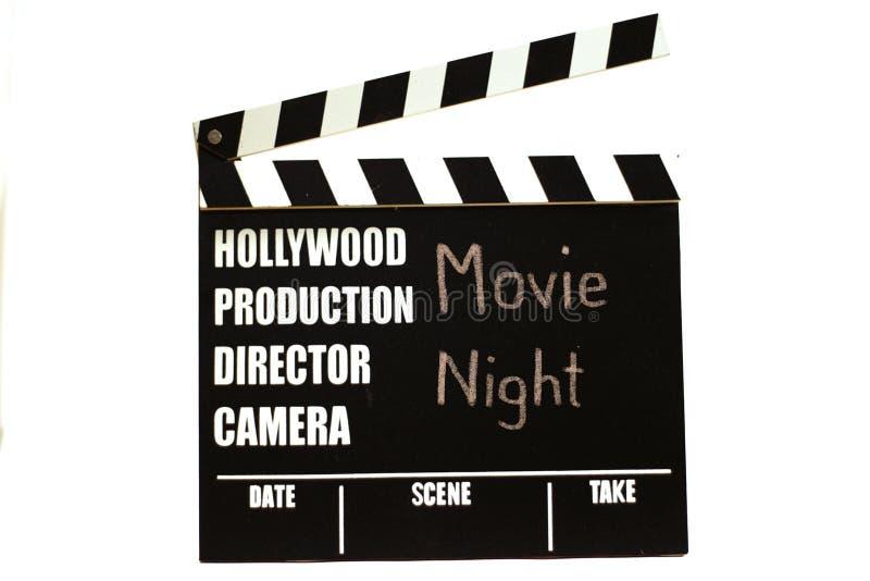 影片板岩-影片clapperboard 作为标题的电影之夜 免版税库存照片