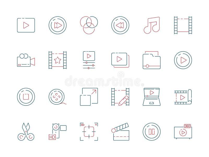 影片编辑象 动画电影生产作用裁减拍板多媒体导航色的标志 向量例证