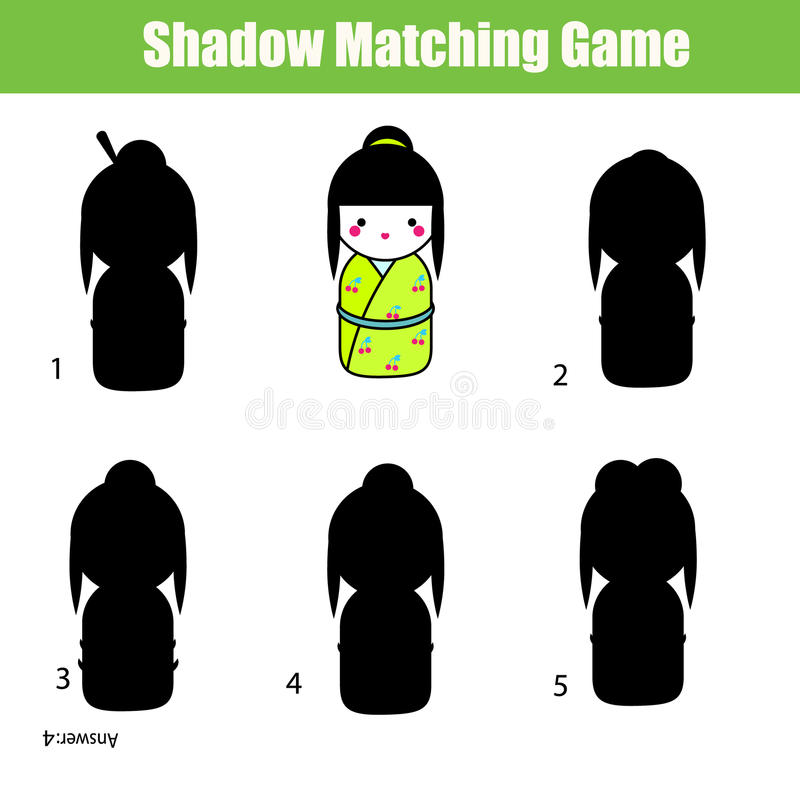 阴影相配的比赛 发现正确的阴影 皇族释放例证