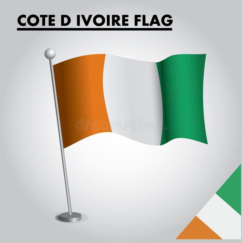 彻特在杆的D IVOIRE彻特D IVOIRE旗子国旗  库存例证