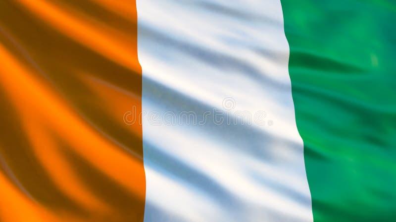 彻特d ` Ivoire旗子 科特迪瓦3d例证挥动的旗子  皇族释放例证